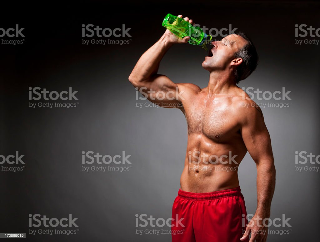 Fitness: Athlete Drinking Water royalty-free stock photo