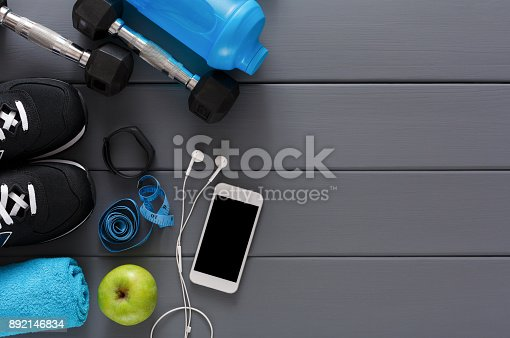 istock Fitness background, sport equipment, copy space 892146834
