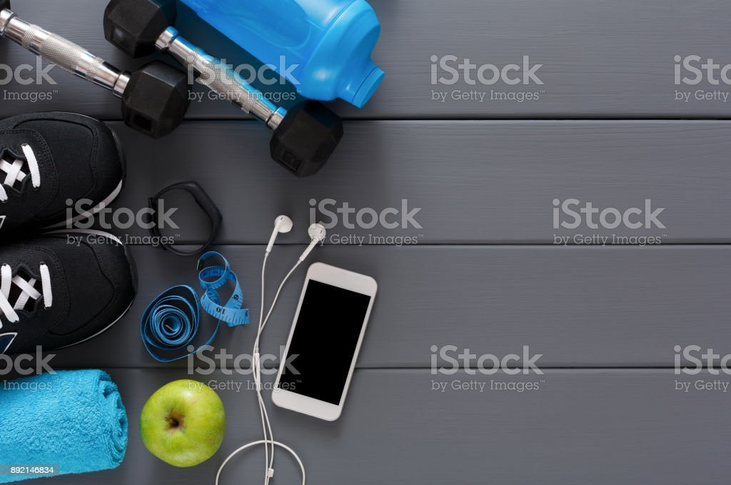 Fitness background, sport equipment, copy space stock photo
