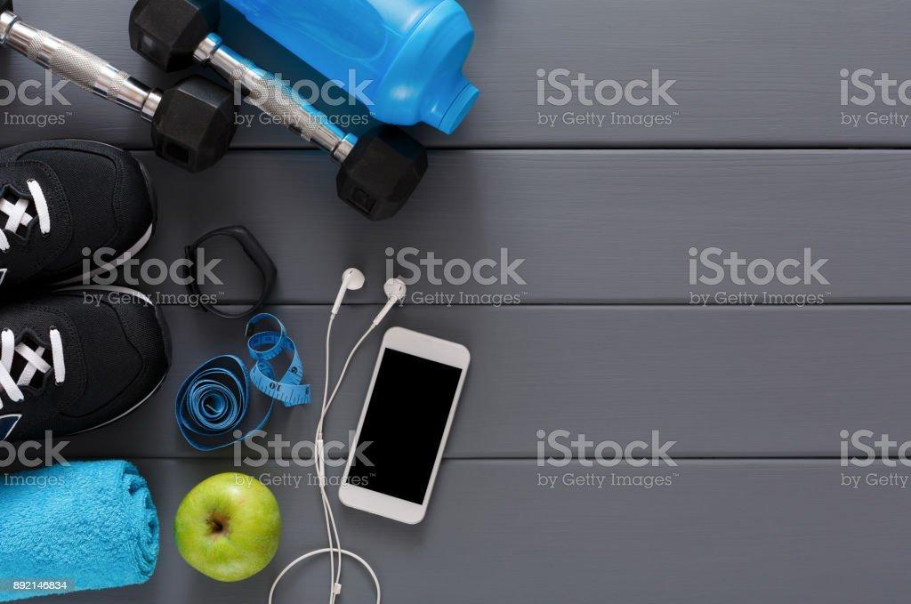 Contexte de remise en forme, équipement de sport, copiez l'espace - Photo