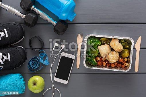 istock Fitness background, sport equipment, healthy food 857416004