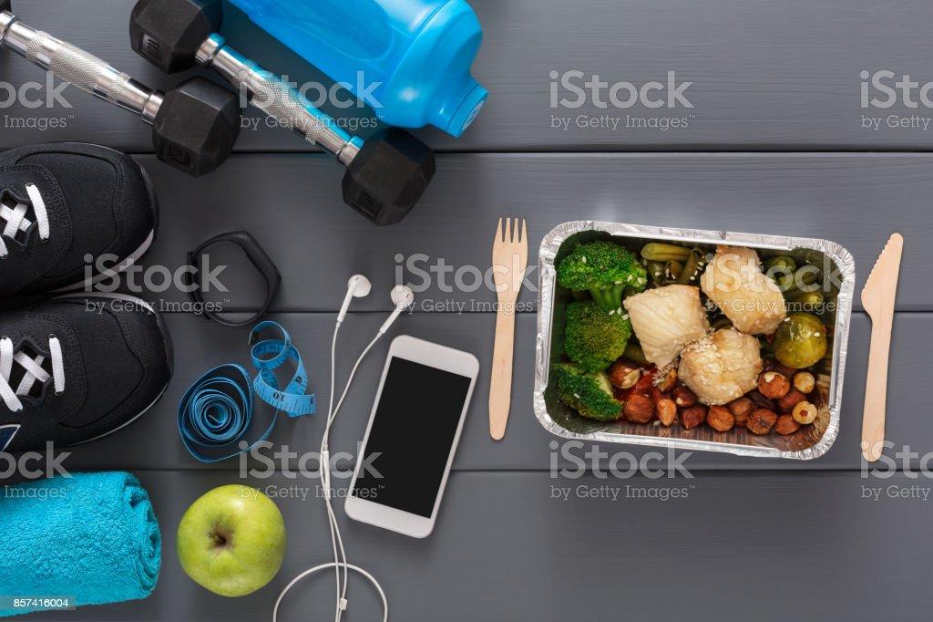 Fitness background, sport equipment, healthy food – zdjęcie