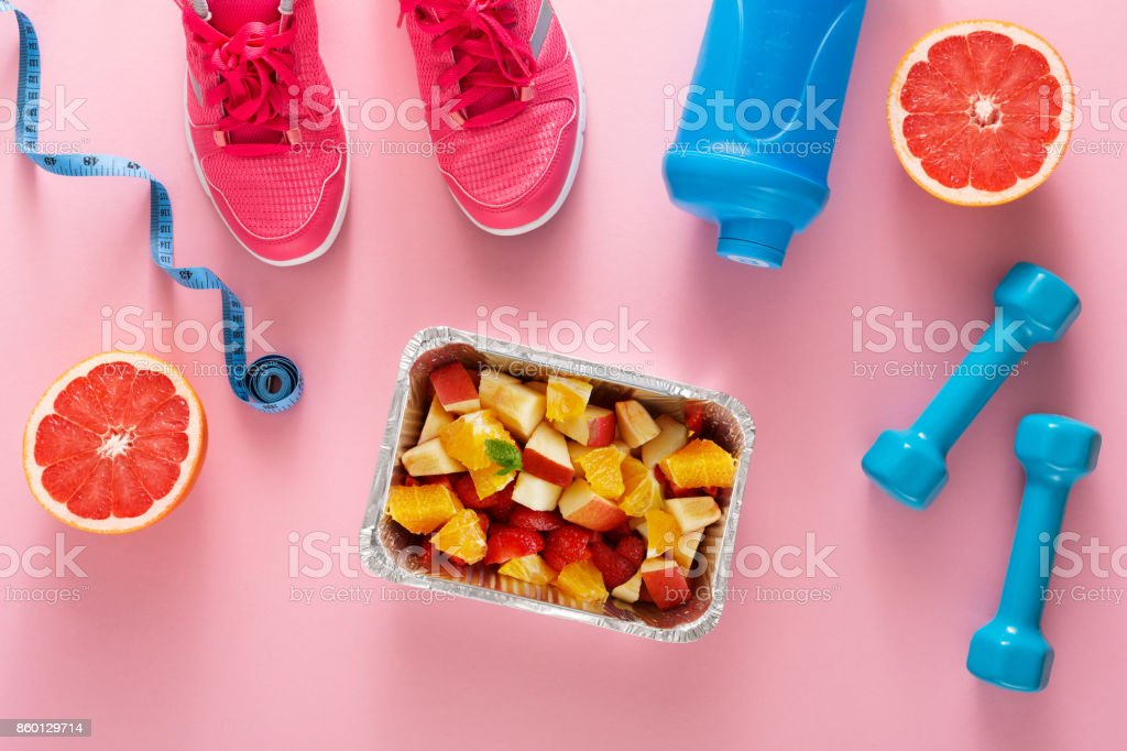 Fitness background, sport equipment, healthy food stock photo