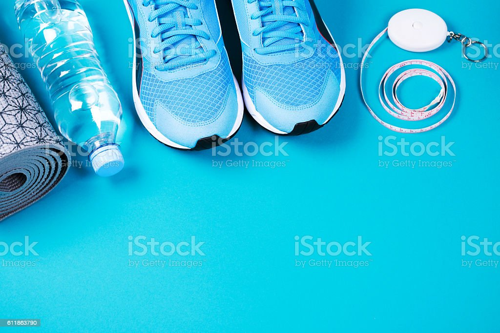 Fitness background with place for text stock photo