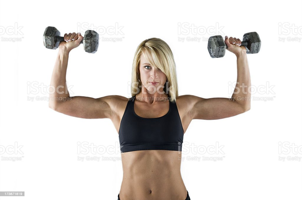 Fitness - Beautiful Young Fit Woman Doing Shoulder Press (XL) stock photo