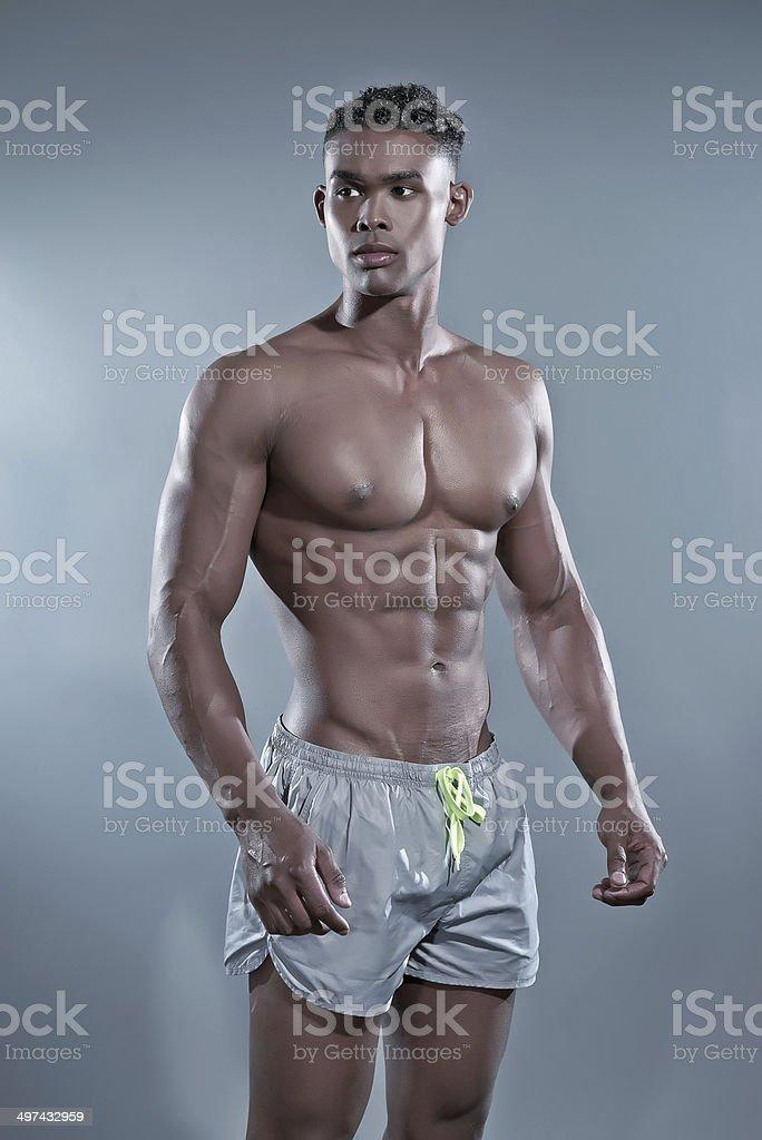 Fitness Uomo Africano Nero Costume Da Bagno Alla Moda Fotografia Di ...