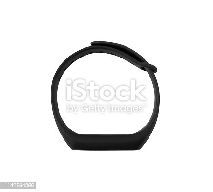 Top view of fitness bracelet or tracker isolated on white background. Smart electronic gadget