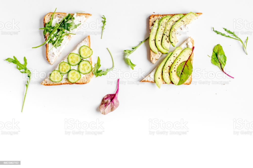 fitness breskfast with homemade sandwiches white table background top view mock up royalty-free stock photo
