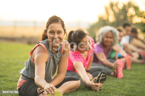 istock Fitness Class Stretching 889045786