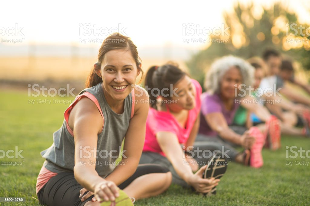 Fitness Class Stretching stock photo