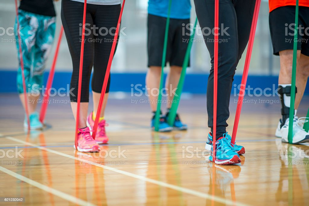 Fitness Class with Resistance Bands stock photo
