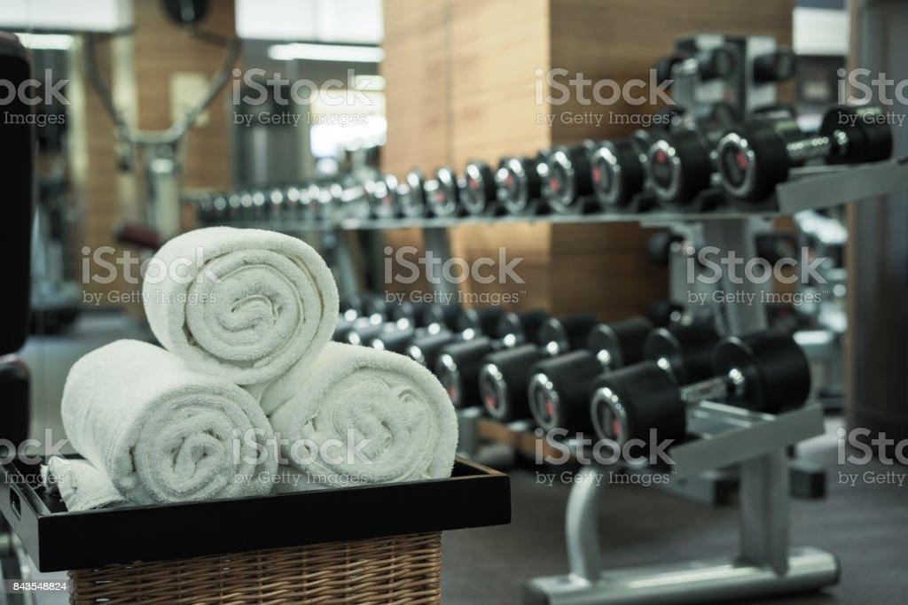 Fitness club in luxury hotel interior stock photo