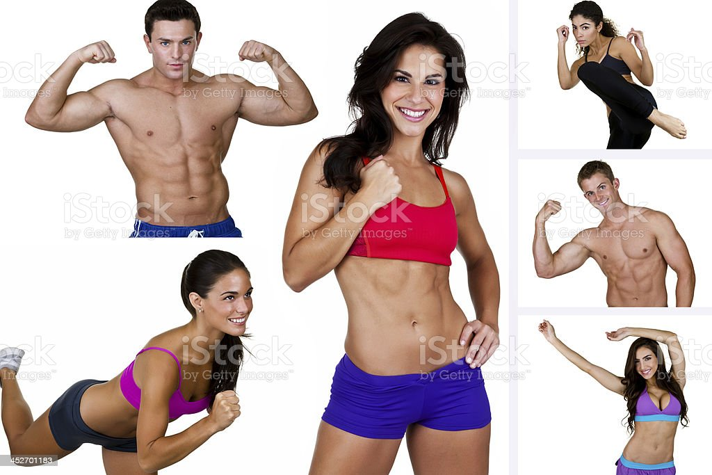 Fitness collage royalty-free stock photo
