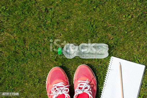 istock Fitness concept, pink sneakers, notebook and bottle of water outdoor 623111548
