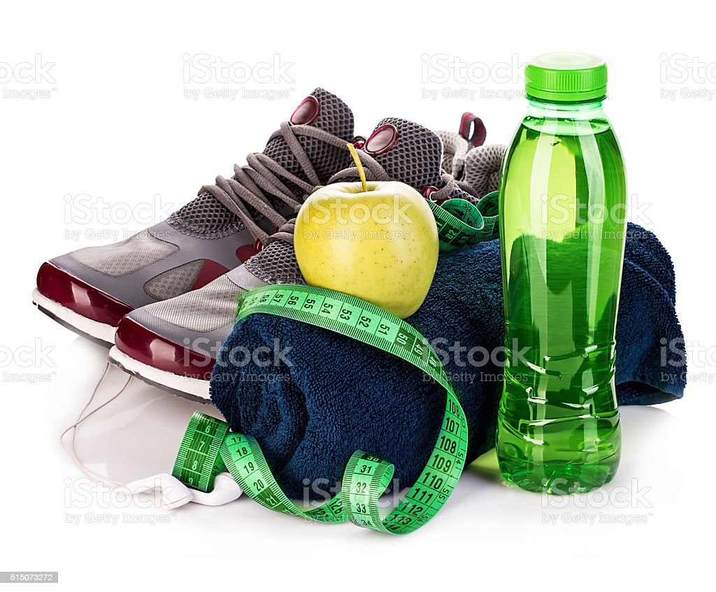 Fitness concept. Weight loss concept close-up isolated. stock photo