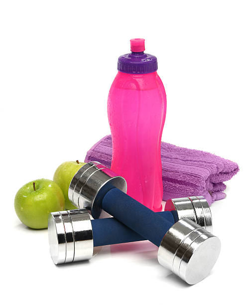 Fitness concept with a bottle of water stock photo