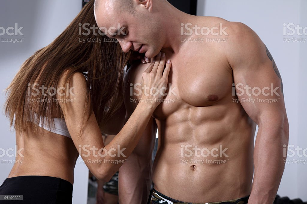 Fitness couple in Gym royalty-free stock photo