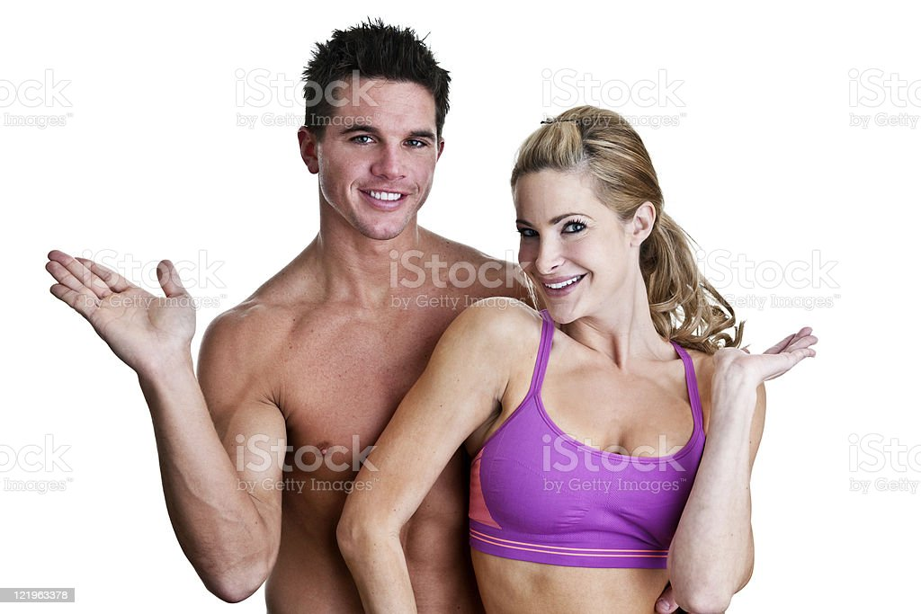 Fitness couple with hands held out for copy space use royalty-free stock photo