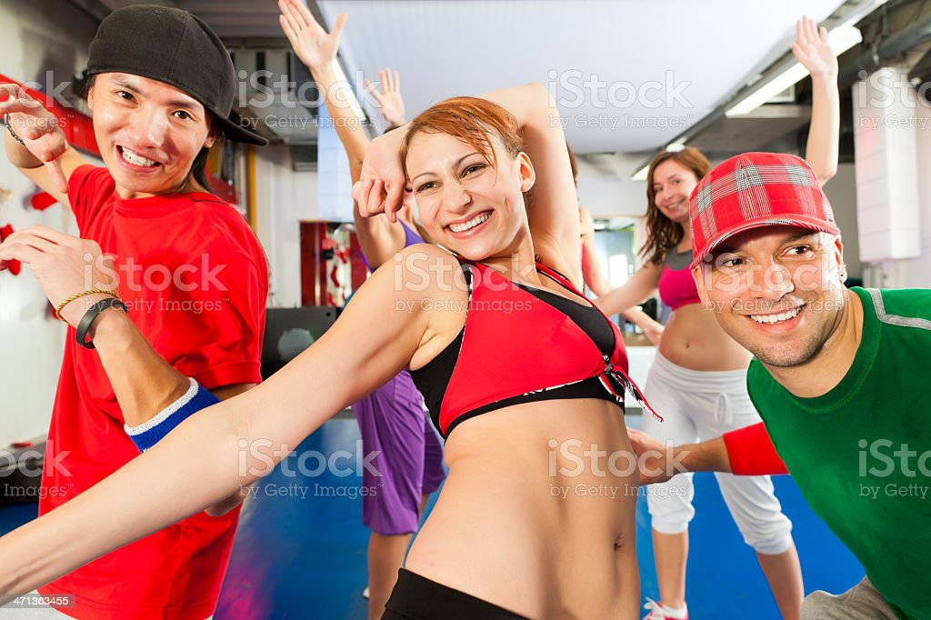 Fitness - dance training in gym royalty-free stock photo