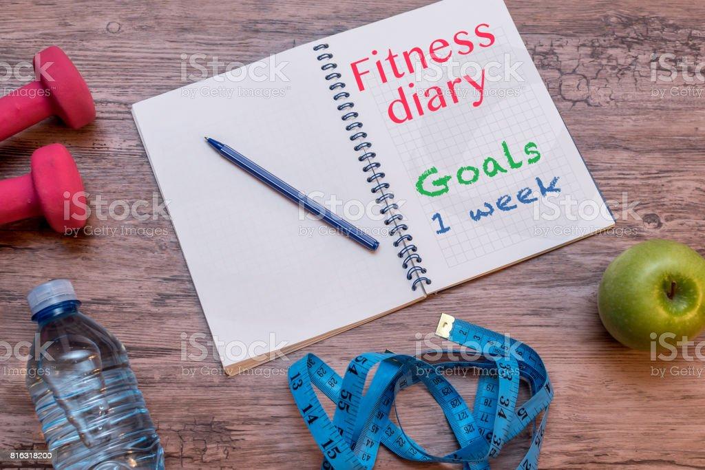 Fitness diary stock photo