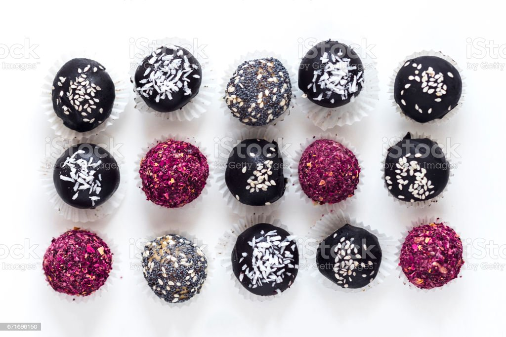 Fitness energy bites, raw chocolate truffles from above stock photo