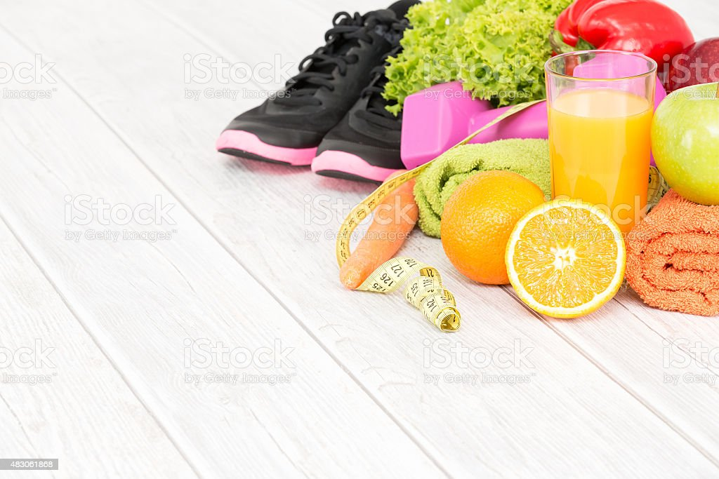 Fitness equipment and healthy nutrition. stock photo