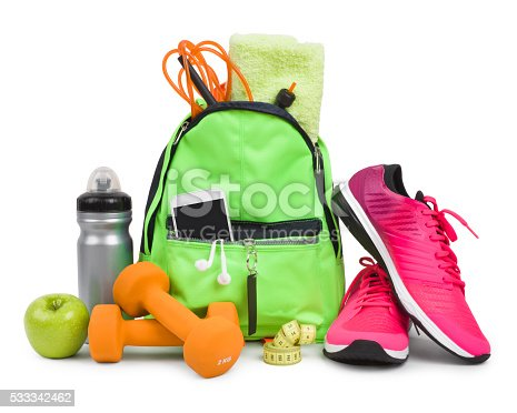 istock Fitness equipment and training accessories isolated on white background 533342462