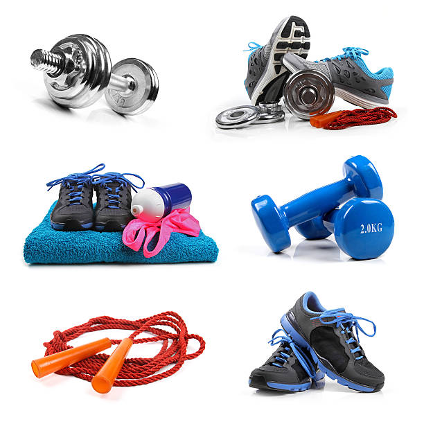 fitness equipment objects isolated on white - weights stock photos and pictures