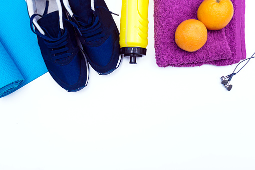 istock Fitness equipment on White Background with copy space 802679434