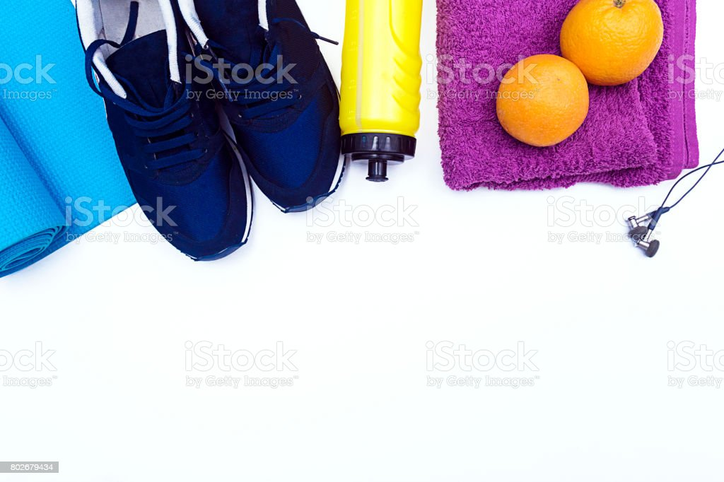 Fitness equipment on White Background with copy space stock photo