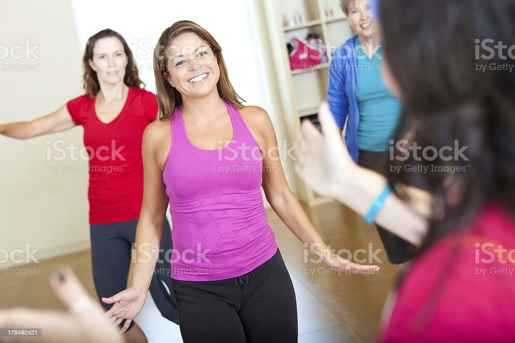 Fitness exercise class in session royalty-free stock photo
