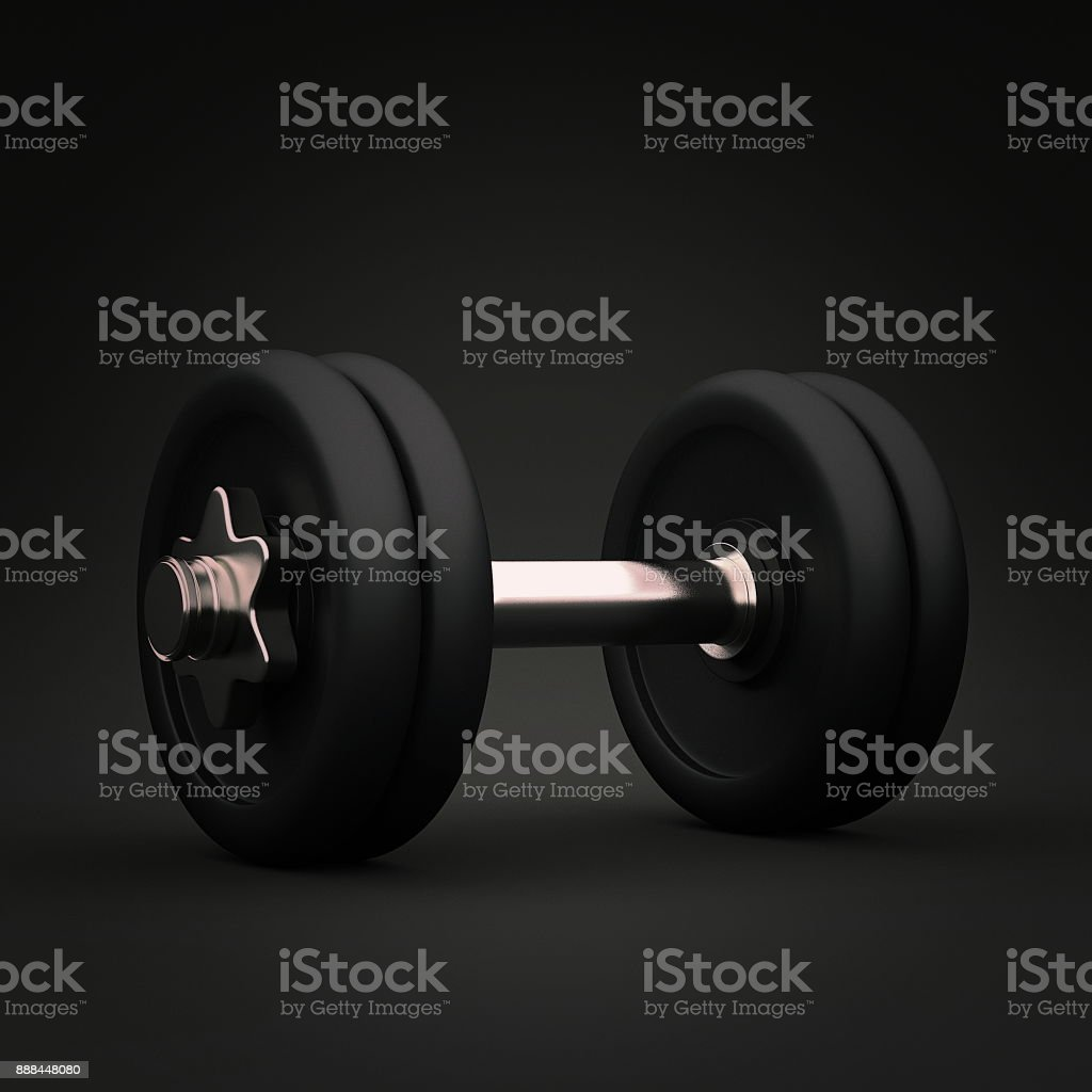 Fitness exercise equipment dumbbell weights on dark background. 3d render stock photo
