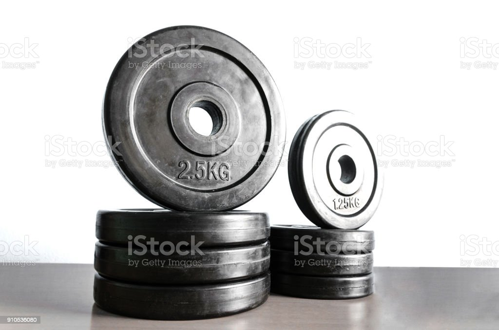 Fitness exercise equipment weights plates stock photo