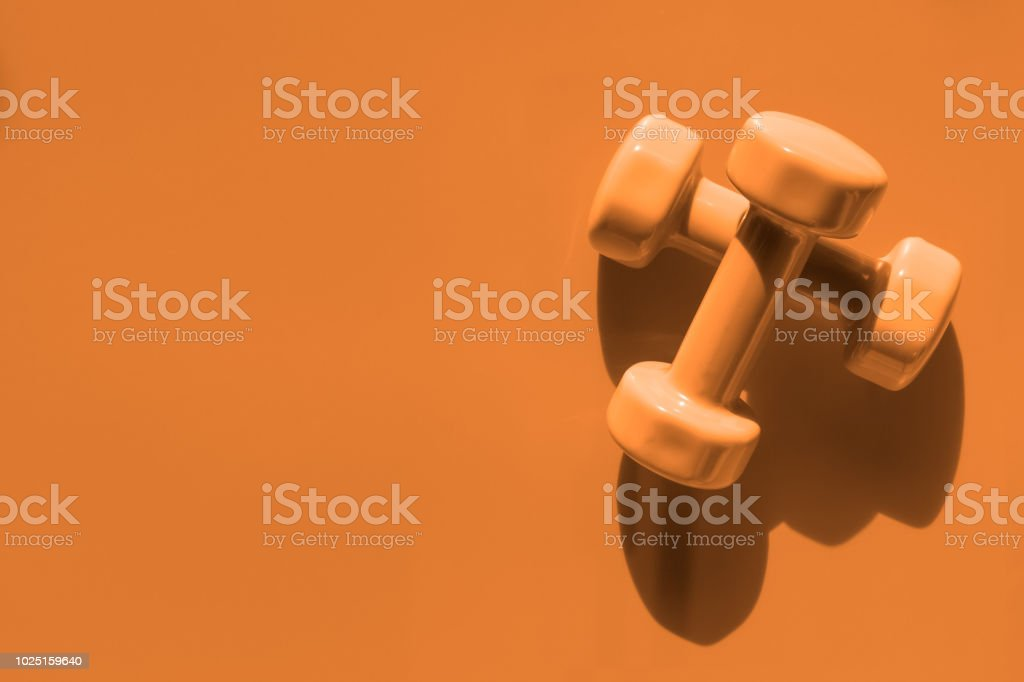Fitness, Exercise, Working out healthy lifestyle background with Halloween color tone concept.  Flat lay Top view with copy space for your text. stock photo