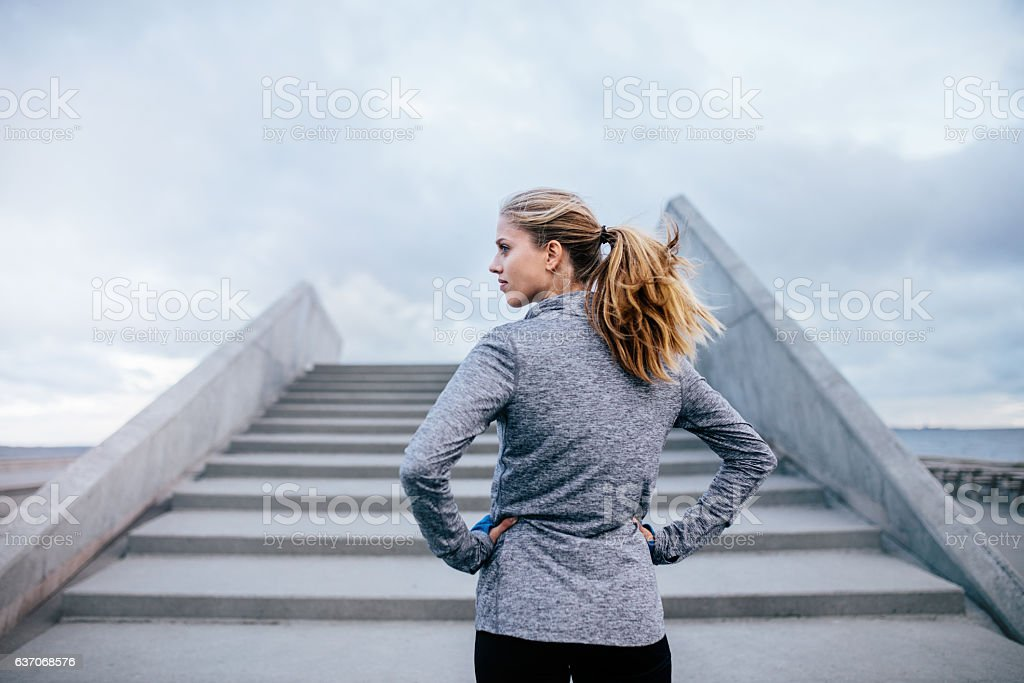 Fitness female before a run stock photo