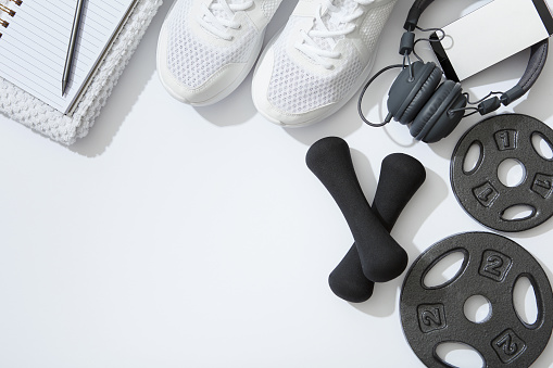 Healthy Lifestyle, Exercising, Wellbeing, Sport, Flat Lay, Exercise Equipment,