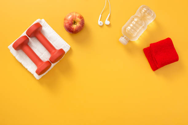 Fitness flatlay with copy space stock photo