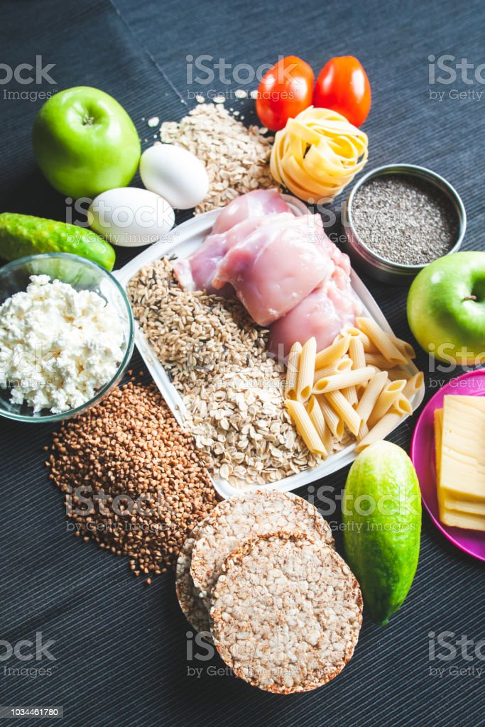 Fitness food. Theme of nutrition and sports. Shredded body. Sports...