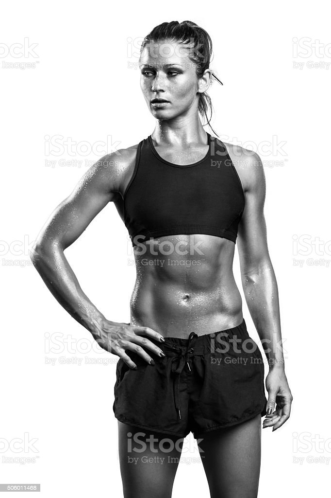 Fitness girl posing in studio stock photo