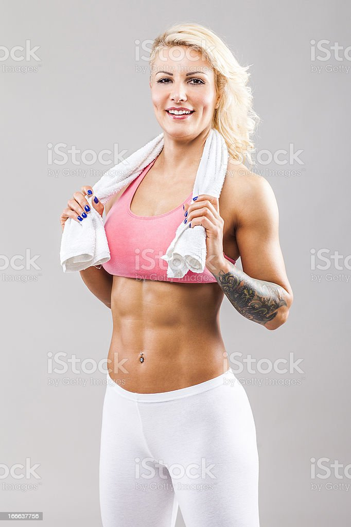 Fitness girl smiling royalty-free stock photo