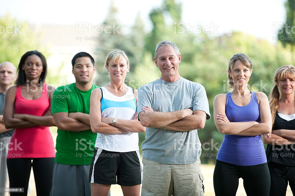 Fitness group outside royalty-free stock photo