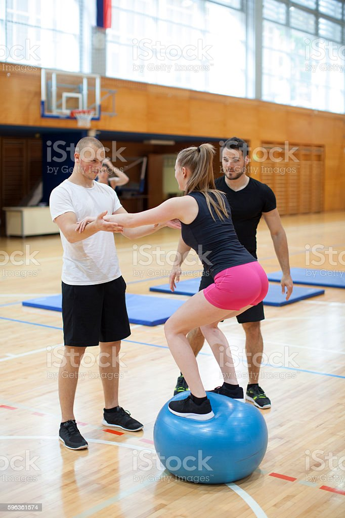 Fitness Group Training With Instructor Indoor Gym royalty-free stock photo