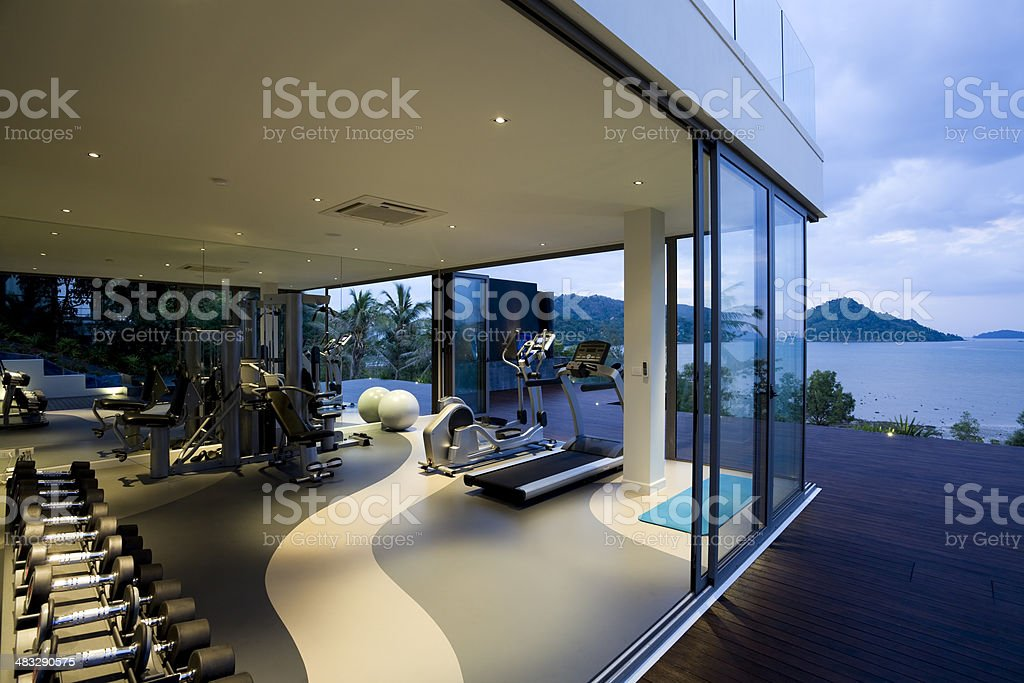 fitness gym health club luxury villa house stock photo
