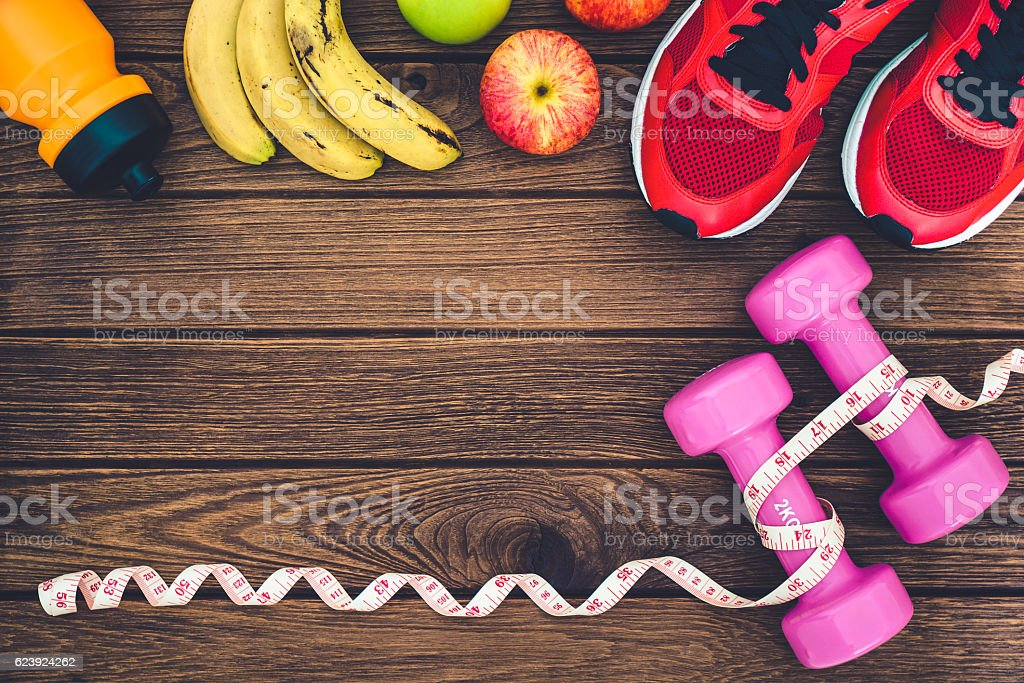 Fitness, healthy and active lifestyles Concept, dumbbells, sport...