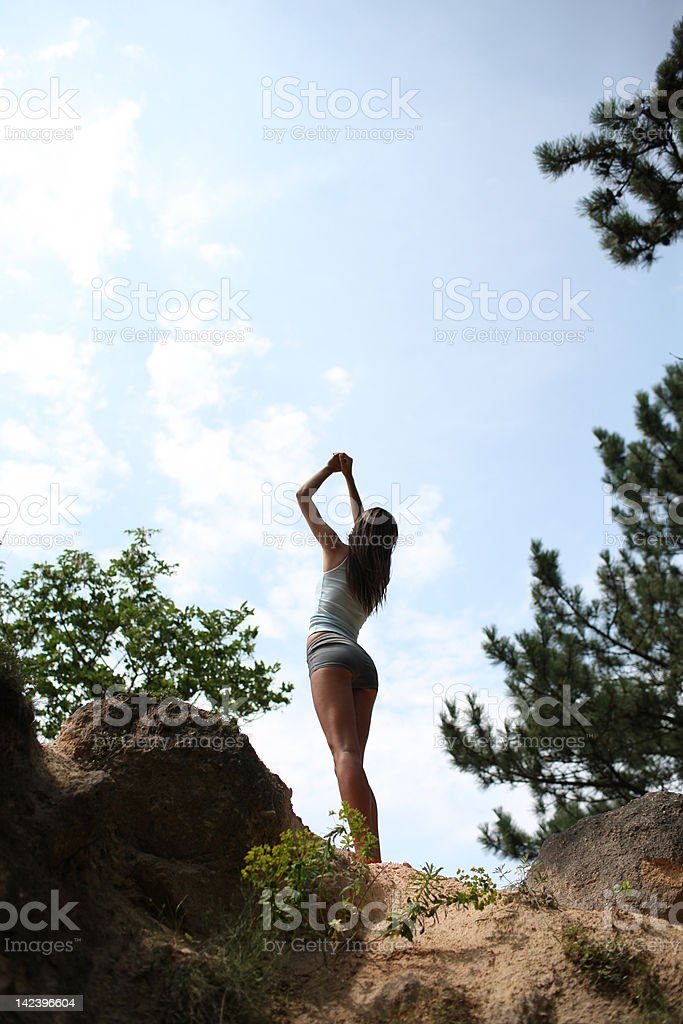 Fitness in the nature stock photo