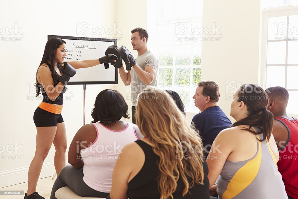 Fitness Instructor Addressing Overweight People At Diet Club stock photo