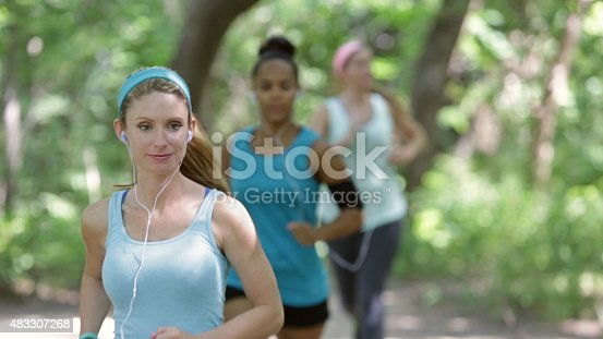 1051098428 istock photo Fitness instructor leading small group of off road runners 483307268