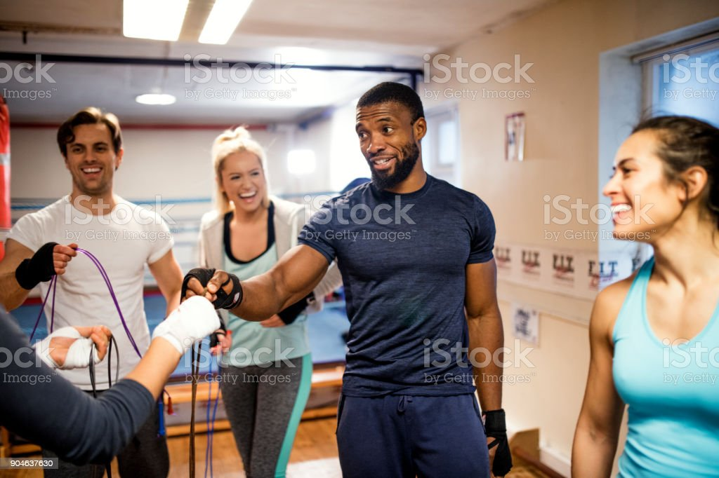 Fitness Instructor Taking a Class stock photo