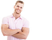 Fitness instructor with arms crossed, isolated on white