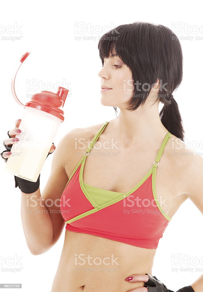 fitness instructor with protein shake royalty-free stock photo